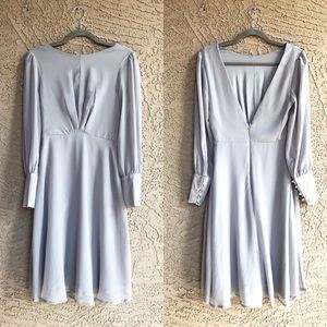 VENUS Grey Long-Sleeve Retro Style Midi Dress